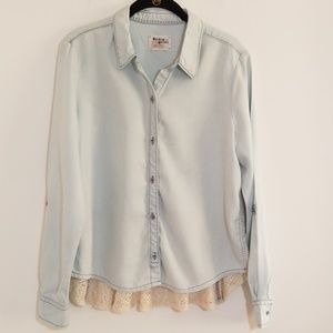 Holding Horses button up lace bottom top size med